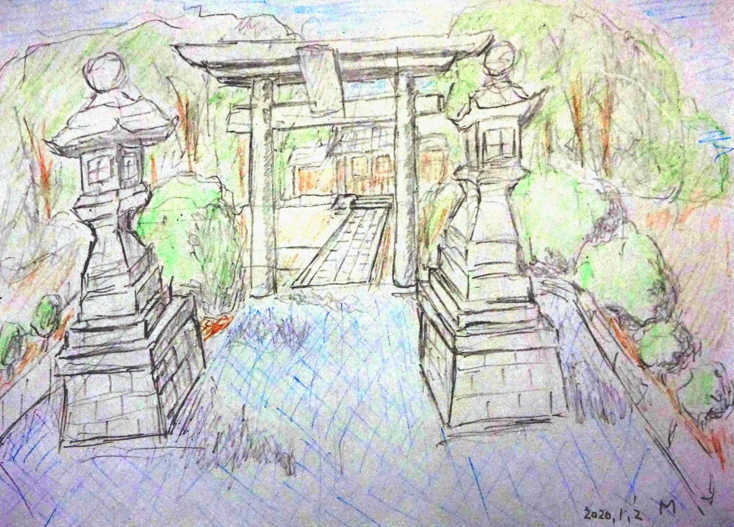 神社の門前から鳥居や灯篭や森がある