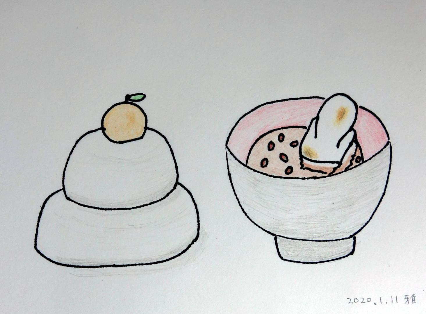 左には2段の鏡餅にだいだいが乗っている、右には漆塗りのお椀に粒あんのぜんざいに焼けたお餅が盛られている